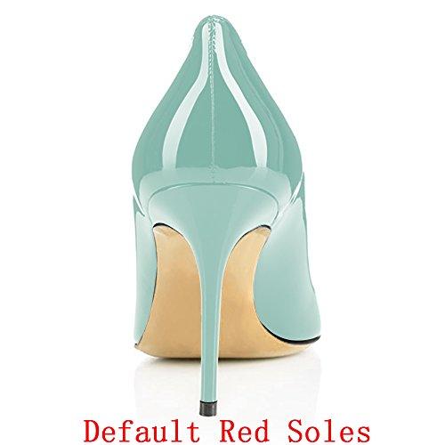 Slip Modemoven Korkokengät 85mm Kengät Ainoana Punaisella Seksikäs on Toimiston Stiletto Vaaleanvihreää Liiketoimintaan Naisten Teräväkärkiset Patentti Pumput 8qAR4IaWq