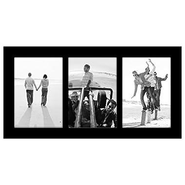 Malden International Designs Linear Classic Wood Picture Frame, 3 Option, 3-5x7, Black