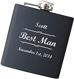 Any Text Engraved Flask Personalized - Your Choice of Colors, 6 oz Stainless Steel Hip Flask for Wedding Favors, Father's Day Gift