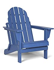 Folding Adirondack Chair, Patio Outdoor Chairs, HDPE Plastic Resin Deck Chair, Painted Weather Resistant, for Deck, Garden, Backyard & Lawn Furniture, Fire Pit, Porch Seating by Gettati