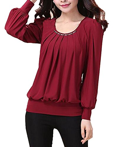 C2U Women Scoop Neck Pleated Front Long Sleeve Fitted Blouse Tops