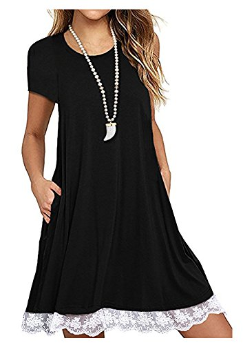 Shirt with Top 2188black Casual Tunics Sleeve Women's Summer Dress Short T Pockets Lace Flowy Blouse Durcoo TwBqxHC