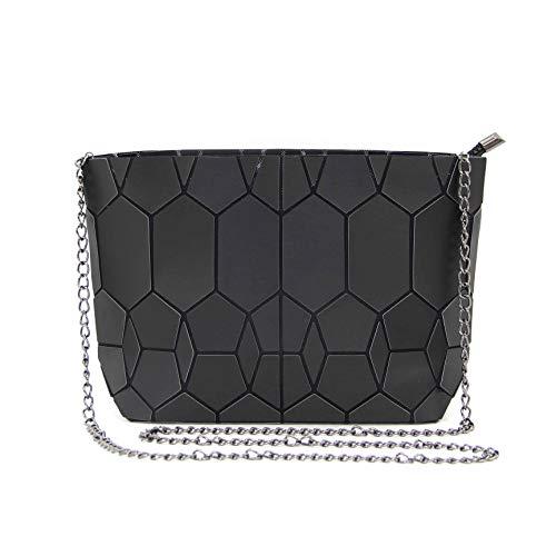 KAISIBO Geometric Metal Chain Shoulder Purses and Handbags Crossbody Messenger Bag (Matte Black)