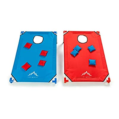 Himal Portable PVC Framed Cornhole Game Set with 8 Bean Bags and Carrying Bag (Blue-Red,3 x 2-feet)