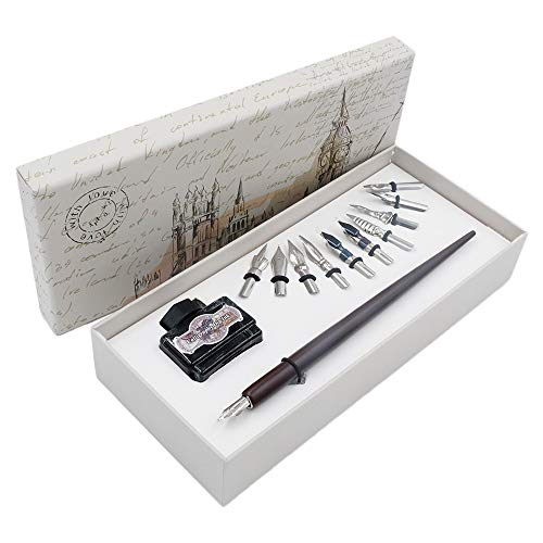Wood Dip Pen Gift Writing Case Handcrafted Calligraphy Set with Black Ink 11 Nibs by HOHUHU