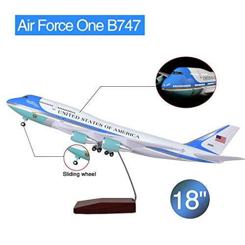 Lose Fun Park American Air Force One B747 1:130 Model Airplane with LED Light and Landing Gear