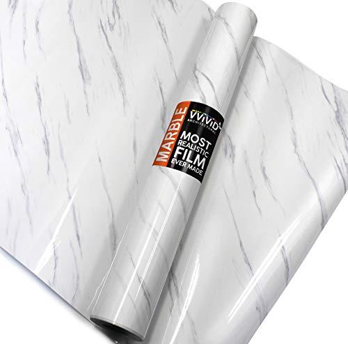 25' Wide Kitchen Countertop - VViViD Slanted Gloss Carrara White Marble Natural Texture Architectural Vinyl Sheet Film Roll (48
