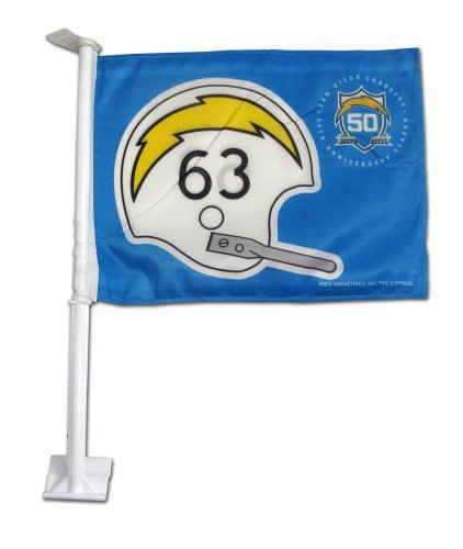Rico Industries NFL San Diego Chargers Retro Football Helmet Design Car Flag