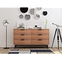 Mainstays Mid Century Modern 6 Drawers Dresser in Vintage Umber Finish