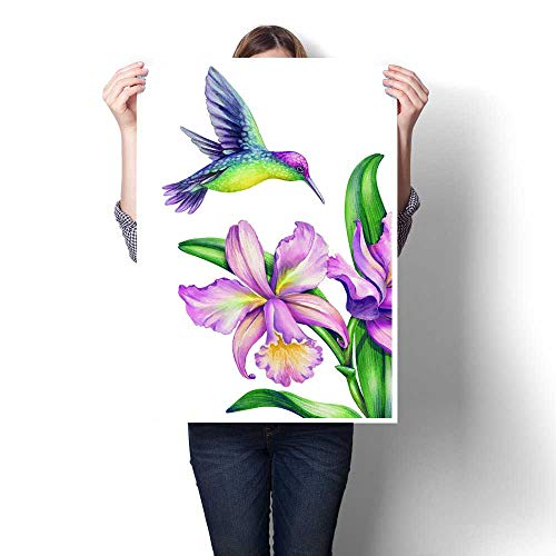- Canvas Wall Art watercolor illustration exotic nature flying humming bird tropical calla lily flowers green jungle leaves isolated on white background Frameless canvas texture decoration16