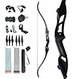 D&Q Takedown Recurve Bow and Arrow Aduilt Set Aluminum Alloy Riser Right Hand for Outdoor Hunting Practice Shooting 30 35 40 45 50lbs (Black, 30lb)