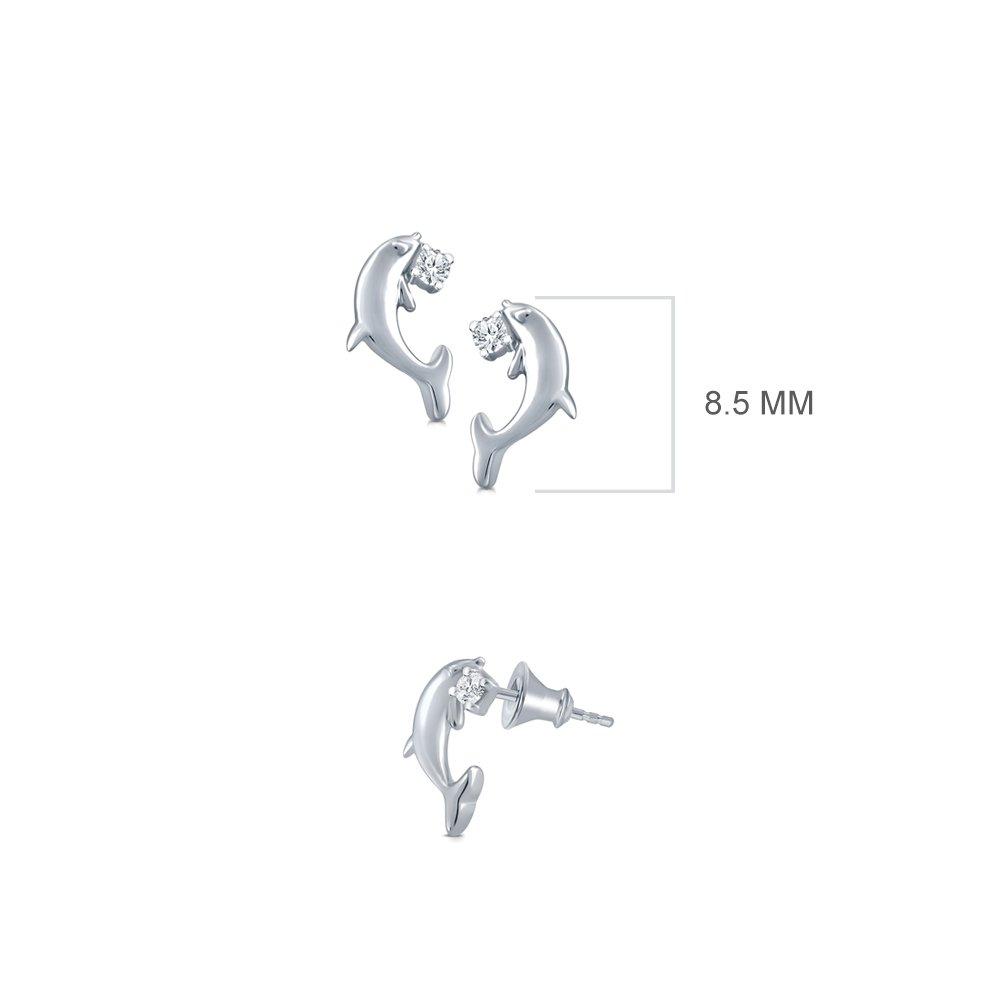 La Joya 0.03 ct Round White Natural Diamond 925 Sterling Silver Dolphin Fish Tiny Earring
