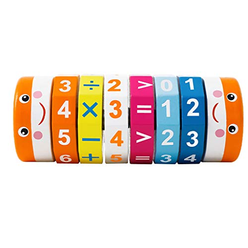 Molyveva Onshine Children's Digital Puzzle Arithmetic Cylinder Multicolor Cubes Addition and Subtraction Multiplication and Removal Baby Early Education Wooden Teaching Aids