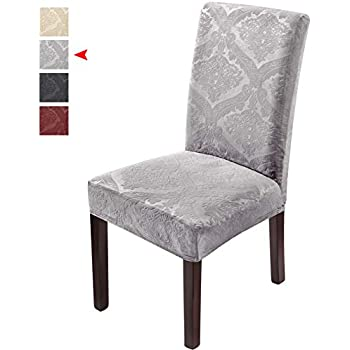 Delight Dining Room Chair Covers,Velvet Stretch Chair Protector,Non-slip Removable Washable 2PCS-Grey(Has Lavender/Purple Tint)