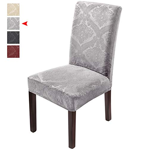 Delight Dining Room Chair Covers,Velvet Stretch Chair Protector,Non-slip Removable Washable 4PCS-Grey(Has Lavender/Purple Tint) (Dining Purple Set)
