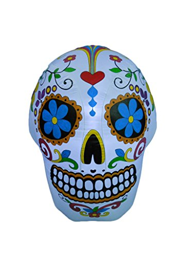 BZB Goods 4 Foot Halloween Inflatable Colorful Sugar Skull (Take Down Halloween Decorations)