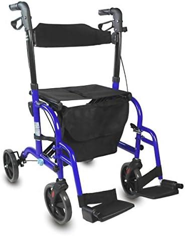 Mobiclinic, Picasso, Deambulatore per anziani, adulti o disabili, in alluminio, leggero, pieghevole, con seduta e 4 ruote, Blu