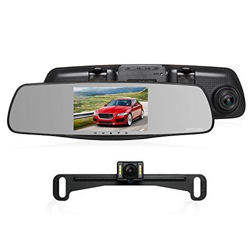 "AUTO-VOX M3 Dual Lens Dash Cam 5"" LCD Full HD 1080P Rearview Mirror Dash Cam and IP 68 Waterproof Car Reverse License Plate Backup Camera with LED Superior Night Vision Advanced Dashcam Parking Mode by AUTO-VOX"