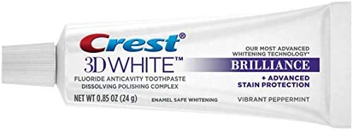 Crest 3D White Brilliance Toothpaste, Vibrant Peppermint, Travel Size, 0.85 oz (24g) - Pack of 12