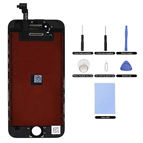 Screen Replacement LCD Display Compatible iPhone 6 4.7 LCD Touch Screen Digitizer Replacement Full Assembly with Repair Tool Kit for iPhone 6(Black)