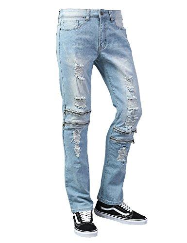 Hipster Zip Fly Jeans - URBANCREWS Mens Hipster Hip Hop Distressed Detailed Slim Fit Jeans LtBlue, 34x30