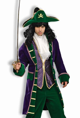 Forum Designer Collection Mardi Gras Buccaneer Adult Costume, Green/Gold/Purple, Medium -