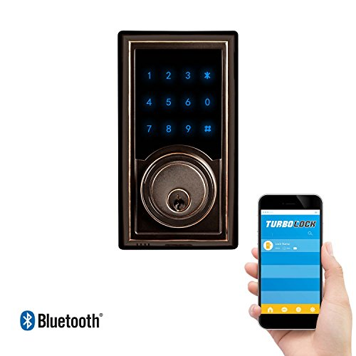 Weather Resistant Digital Keypad (TurboLock TL-200 Smart Deadbolt Lock w/ Real-Time Monitoring & App: Use eKeys, Physical Keys, or Passcodes - Smart Lock (Bronze))