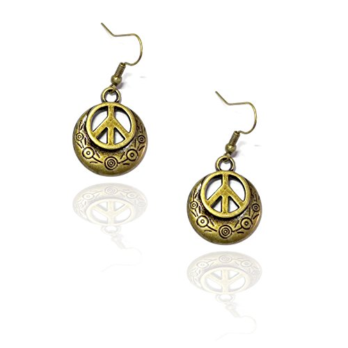 Engraved Antiqued Gold Peace Sign Drop Earrings Antique Gold Peace Sign