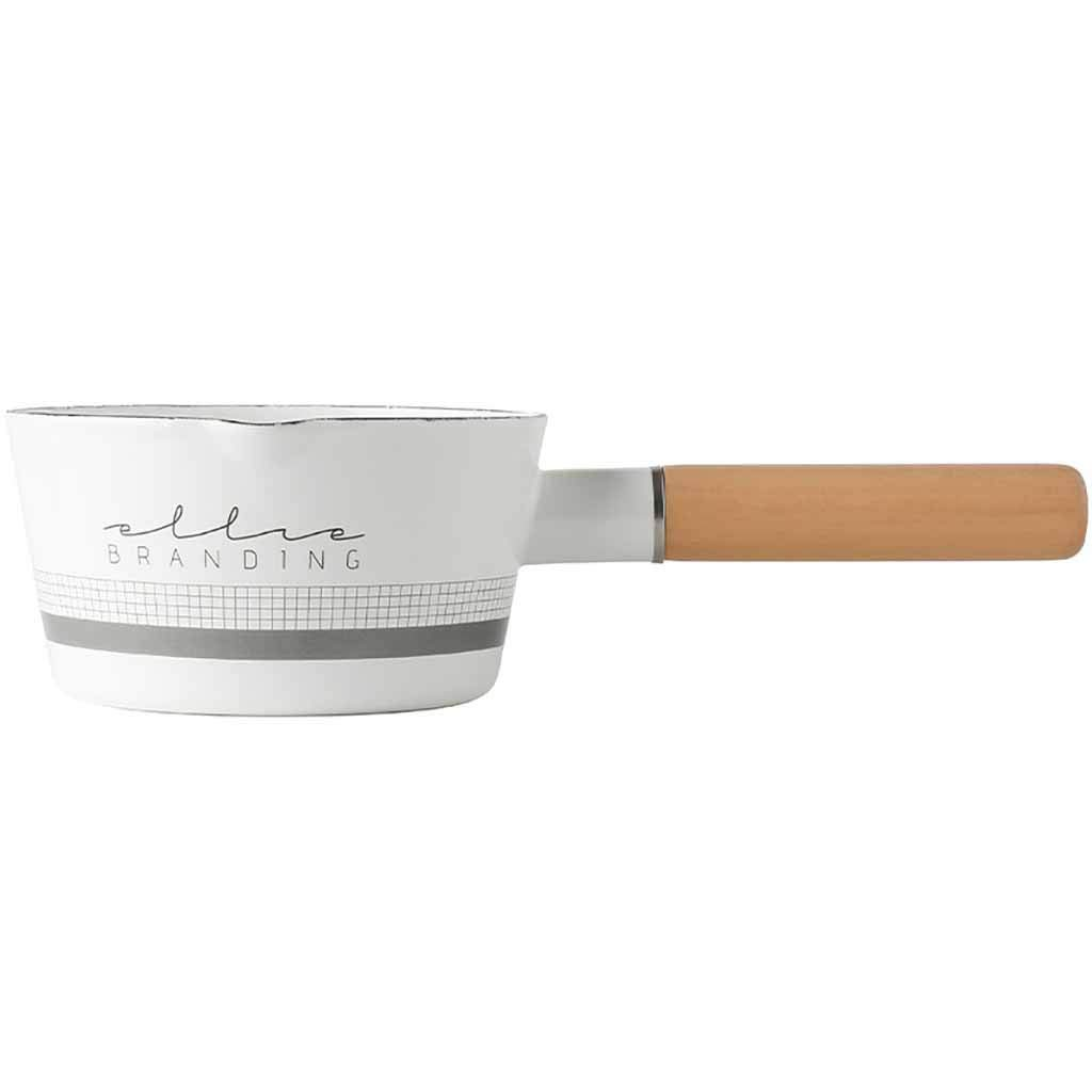 Milk Pan, Ecurson Mini Butter Warmer Enamelware Saucepan Pan Cookware with Wooden Handle, Perfect size for heating small liquid portions - Lightweight, Dishwasher Safe (B) by Ecurson