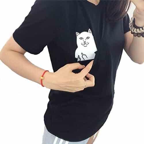 UR Ladies Women T Shirt Middle Finger Cat Pocket Shirts Harajuku Crop Top Tee