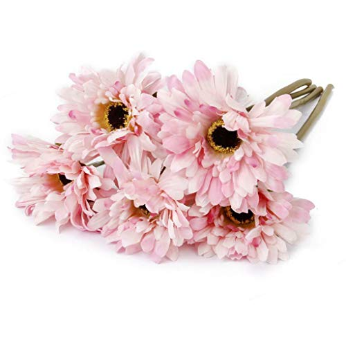 BROSCO 5pcs Artificial Gerbera African Daisy Flower for Wedding Decoration Xmas Party | Color - Light Pink