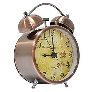 lunaoo Despertador Analogico Silencioso Sin Tictac, Reloj Despertador Vintage Retro con Luz, 3″ Alarma Despertador de Doble Campana Fuerte Sonido