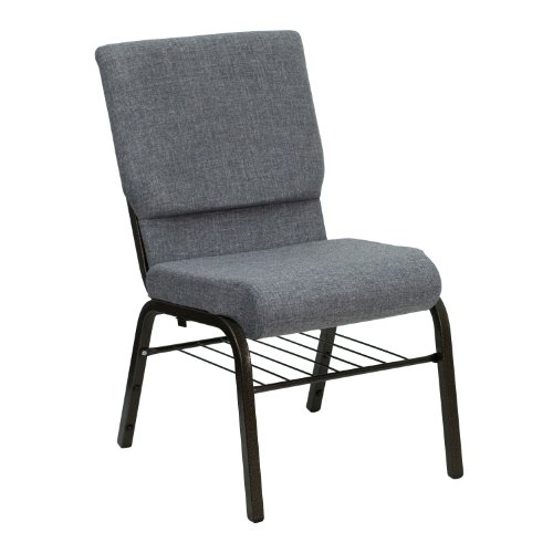 "18.5""W Church Chair in Gray Fabric with Book Rack – Gold Vein Frame"