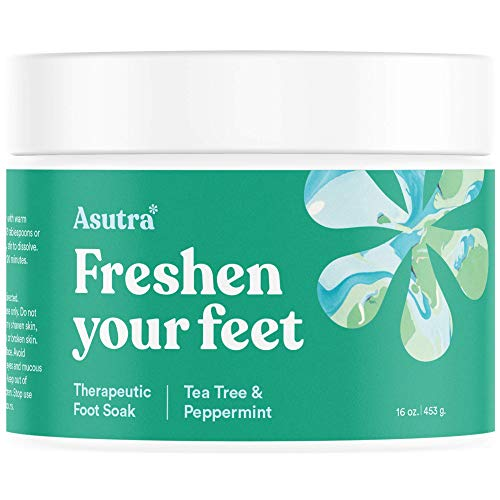 - Asutra Premium Therapeutic Foot Soak, Tea Tree and Peppermint Scent, 100% Pure Dead Sea Salt, Skin-Healing Nutrients, Organic Essential Oils, Combats Feet Conditions, Free Pedicure Pumice Stone, 16 Oz