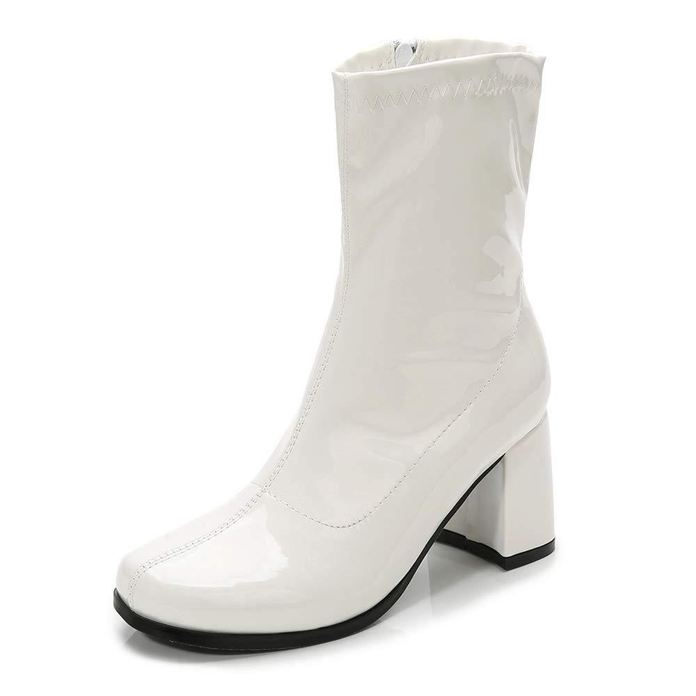 LIURUIJIA Women's Go Go Boots Mid Calf Block Heel Zipper Boot White-37(235/US8) by LIURUIJIA