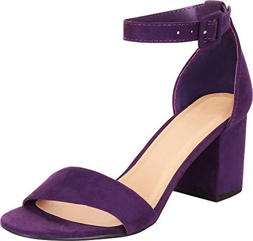 Cambridge Select Women's Open Toe Buckled Single Band Ankle Strap Chunky Block Mid Heel Sandal,7.5 B(M) US,Grape IMSU