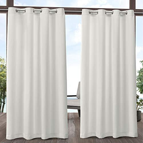 Exclusive Home Curtains Delano Heavyweight Textured Indoor/Outdoor Grommet Top Curtain Panel Pair, 54x84, Vanilla