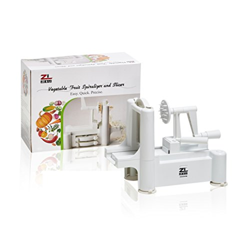 Cuisine Counter Table (Plastic Spiral Vegetable Slicer by Ze&Li, Best Veggie Pasta Spaghetti Noodle Maker for Low Carb/Paleo/Gluten-Free Meals, 5 Blades Suit For All Slices)