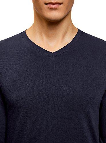 Di 2 shirt Lunghe Etichetta T Con Oodji Ultra Blu 7901n pacco Uomo Maniche Senza SYqZtvPx
