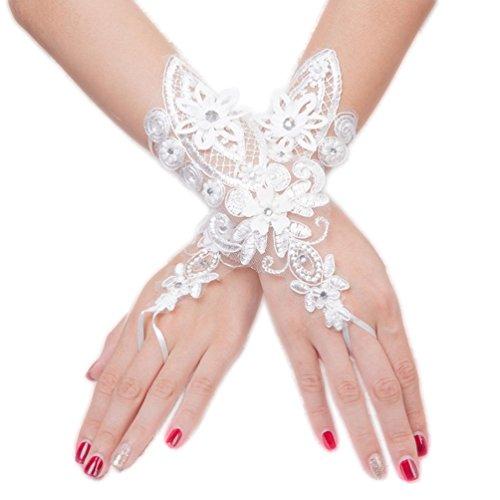 Fingerless Bride Wedding Gloves with Rhinestone Lace Fashion Wedding Accessories