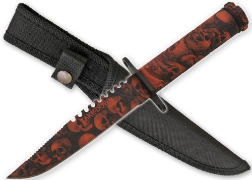 Orange Skull Survival Knife With Sheath & Compass Zombie Apocalypse Killer