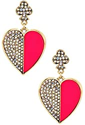 Betsey Johnson Pink & Crystal Drop Earrings