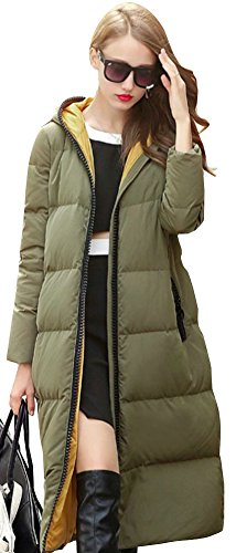 Ilishop Women's Thickened Winter Coat Silm Long Down Jacket with Hood Armygreen L-US6-8