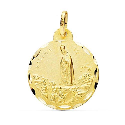 Médaille pendentif 18k 22mm en or Vierge Fatima. [AB0775]
