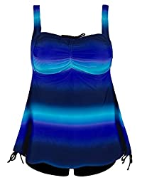 Hilor Women's Retro Plus Size Floral Pin UP Ruched Skirted Tankini Swimsuit