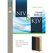 NIV, KJV, Parallel Bible, Large Print, Leathersoft, Navy/Tan: The World's Two Most Popular Bible Translations Together