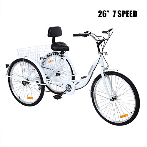 Iglobalbuy 26 Inch Adult Tricycles Series 7 Speed 3 Wheel Bikes for Adult Tricycle Trike Cruise Bike Large Size Basket for Recreation, Shopping,Exercise Men's Women's Bike