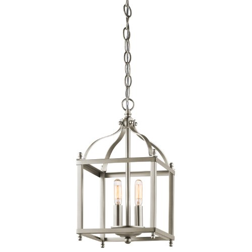 Kichler 42565NI Larkin 2-Light Foyer Pendant in Brushed (Nickel Lantern Pendant)