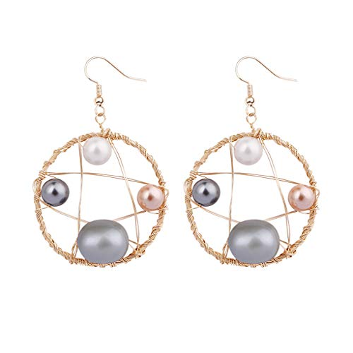 Best valentine's day gift!!!Kay Cowper Bohemian Creative Natural Freshwater Pearl Wire Wrapped Woven Earrings Jewelry