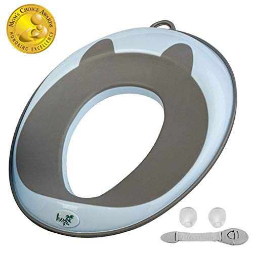 Potty Training Seat (Mom's Choice Award Winner) for Kids, Toddlers & Infants - Portable Ring Chair for Round/Oval Toilets - Safe, Durable, Non-Slip with Urine Guard   Bonus 2 Hooks & Safety Lock